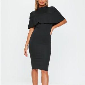 Frill Overlay Midi Dress